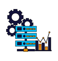 database server chart and gears vector image