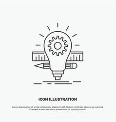 development idea bulb pencil scale icon line gray vector image