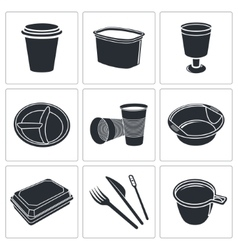 Disposable tableware icon collection vector
