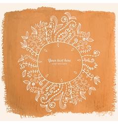 Doodles floral frame on grunge paper Hand vector