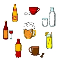 Drinks alcohol and beverages icons vector image