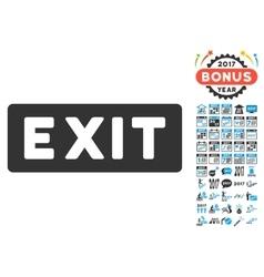 Exit Label Icon With 2017 Year Bonus Symbols vector