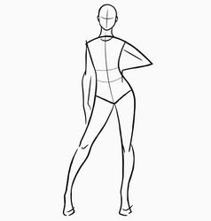 Female figure model simple sketch vector