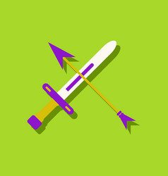 Flat icon design collection sword and arrow in vector