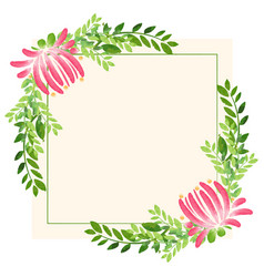 frame design with flowers and leaves vector image