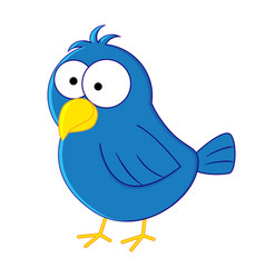 Funny cartoon blue bird vector