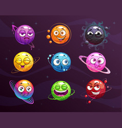 Funny cartoon colorful emoji planets set vector