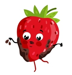 Funny fruit strawberry isolated cartoon character vector image