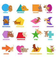 Geometric shapes with funny dogs characters set vector