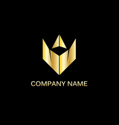 gold triangle company logo vector image