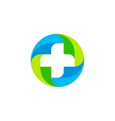 Green and blue medical cross logo Round vector