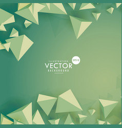 Green background with 3d polygons vector