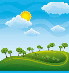green landscape with trees clouds meadow vector image