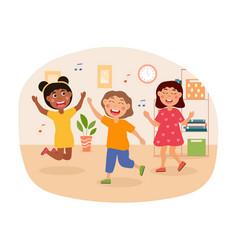 Group happy kids is dancing to upbeat music vector