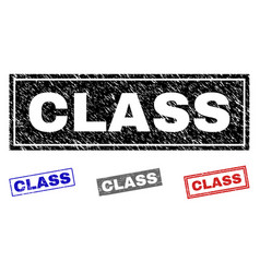 grunge class textured rectangle stamps vector image