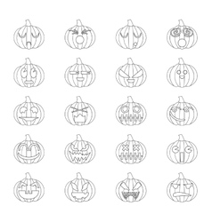 Halloween pumpkins set 20 icons vector image