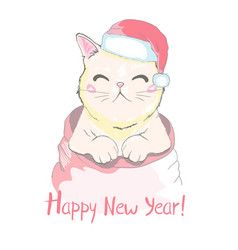 hand drawn of a cute funny cat face in santa vector image