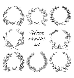 Hand drawn wreaths set vector image