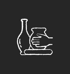 Handmade pottery chalk white icon on dark vector