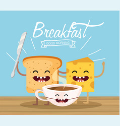 Happy sliced with snife and cheese with cocoa cup vector
