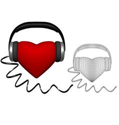 Heart with headphones vector