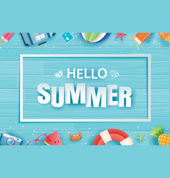 hello summer with decoration origami on blue vector image