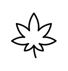 hemp leaf icon thick linear emblem cannabis vector image