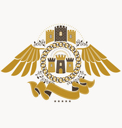 Heraldic coat of arms decorative emblem of eagle vector
