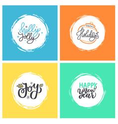 holly jolly happy new year holidays joy and xmas vector image