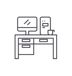 home computer desk line icon concept home vector image