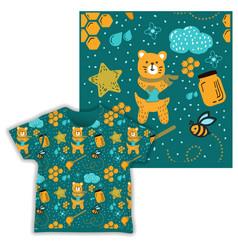 Honey bear seamless pattern print shirt fabric vector