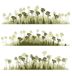 Horizontal lines of silhouettes coniferous wood vector