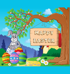 image with easter bunny and sign 6 vector image