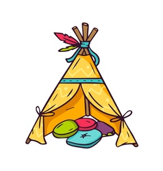 Indian wigwam for kids room isolated on white vector