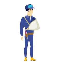 Injured mechanic with broken arm vector