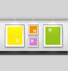 interior gallery with four empty white frames on vector image