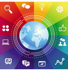internet concept with rainbow background vector image