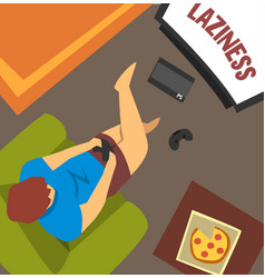 laziness guy sitting at home and playing games vector image