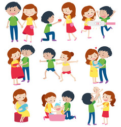 Love couple in different actions vector