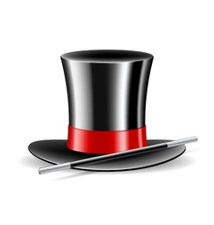 Magic hat and wand on white background vector