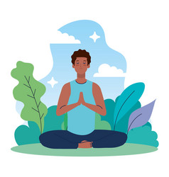 Man afro meditating in nature and leaves concept vector