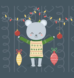 merry christmas celebration cute bear with sweater vector image