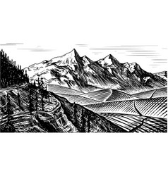 Mountain landscape background alpine peaks and vector