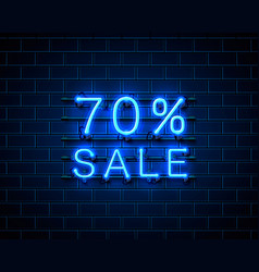 neon 70 sale text banner night sign vector image