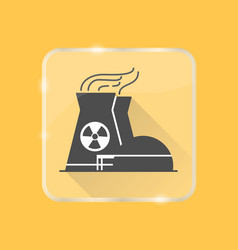 Nuclear power plant silhouette icon in flat style vector