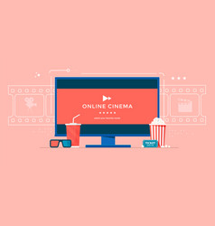 online cinema flat banner concept with tv vector image