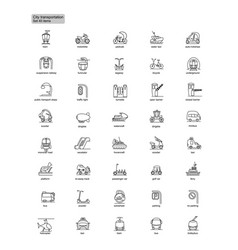 Outline transportation icons vector