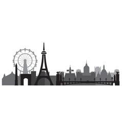 paris skyline silhouette 3 vector image