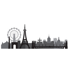 Paris skyline silhouette 3 vector