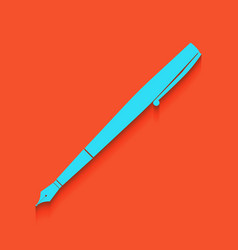 Pen sign whitish icon on vector